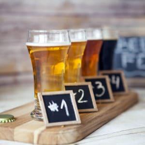 Beer Tasting Beer Flight Closeup of Beer Samples in a Row Whitehorse Brewery Tour